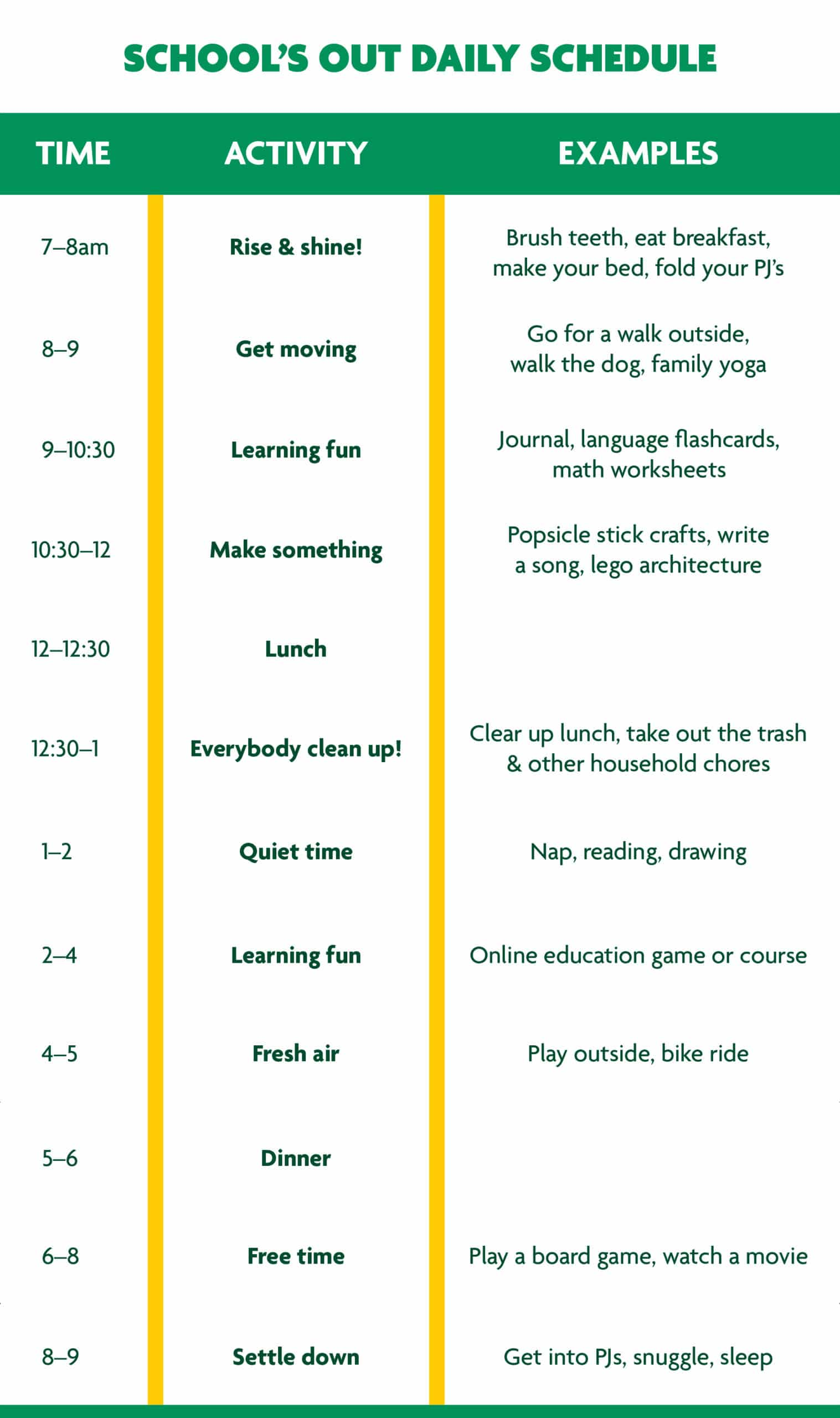 covid-19 daily schedule for kids